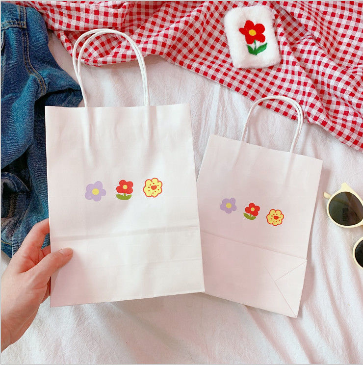 Custom Printing Recyclable Paper Bags With Handles Flower Pattern