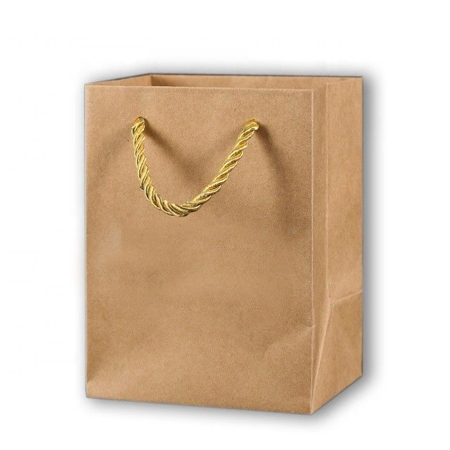 Brown Shopping Paper Craft Bags With Handles Eco Friendly Material