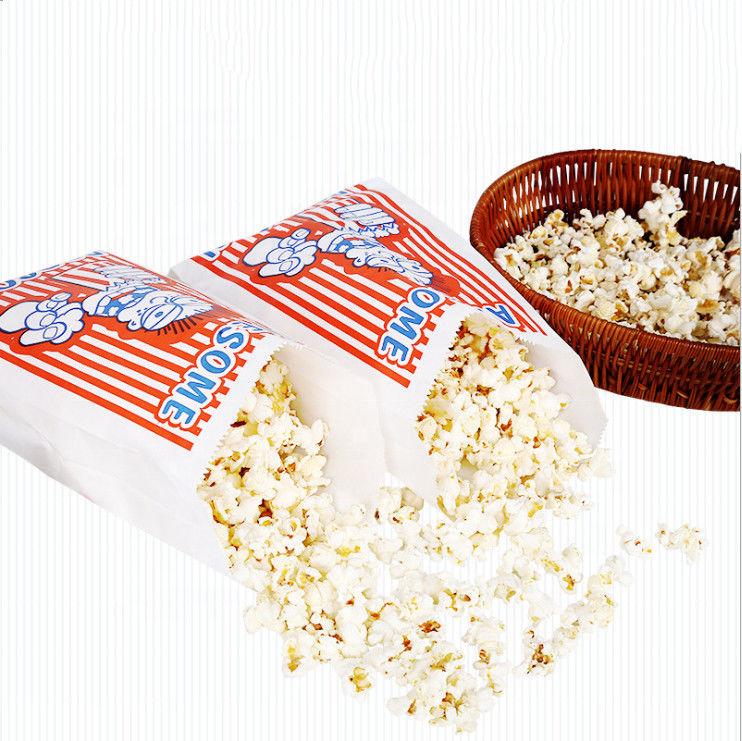 Customized Popcorn Snack Bags , Biodegradable Paper Popcorn Chip Bag