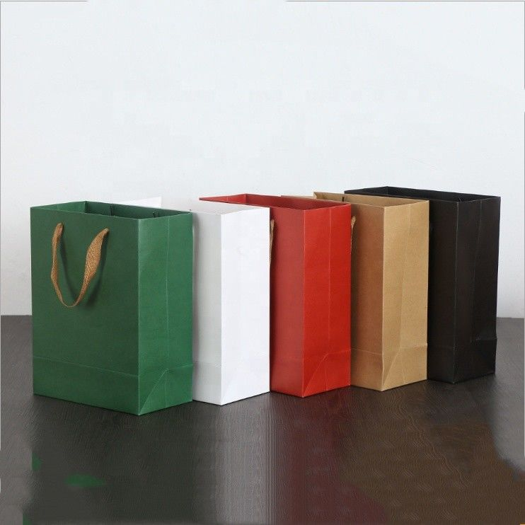 Simple Style Gift Bags With Ribbon Handles CMYK 4 Color Offset Printing