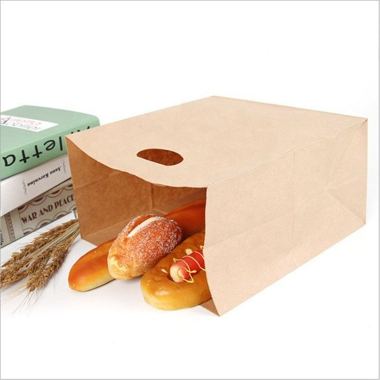 Recyclable Kraft Paper Bags With Handles Offset Printing Simple Design