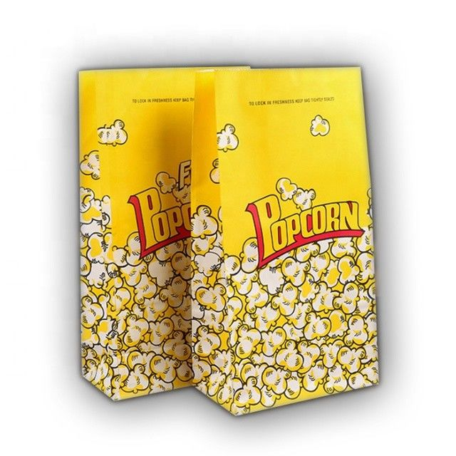 Food Grade Popcorn Recycled Paper Food Bags Eco Friendly Biodegradable Material