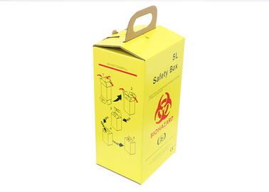 Medical biohazard waste box corrugated paper material Yellow / White Color
