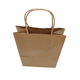 Recyclable Kraft Bags With Handles , Kraft Shopping Bags 34X26X12 Cm