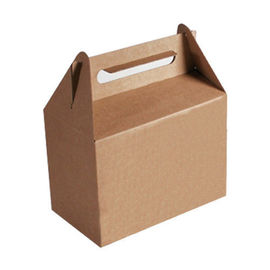 Brown Take Out Recycled Paper Food Bags Embossing Printing With Handle